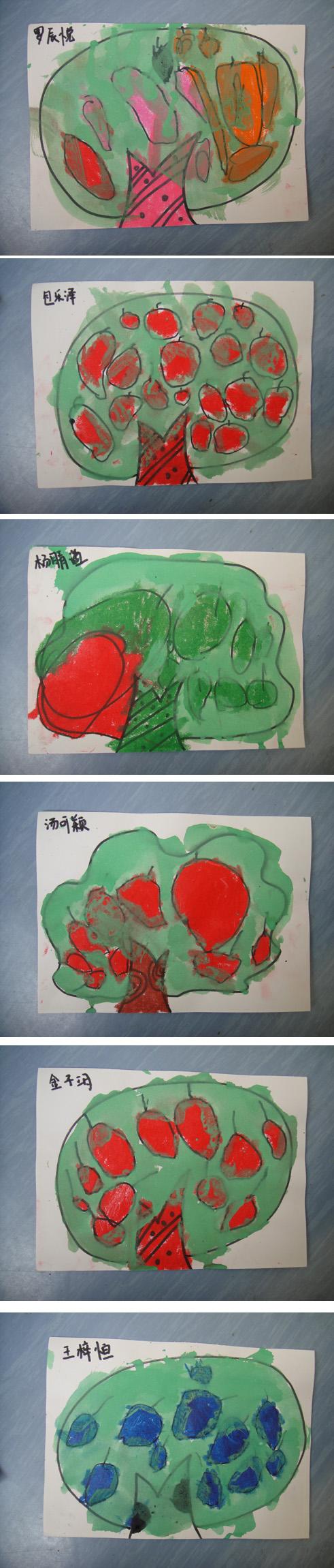 园所主页 大一班 宝贝作品 一颗苹果树  绘画说明:在已有的果树上添画