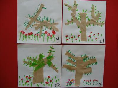 春天的树,先用撕纸的方法贴好树干,树枝,再用炫彩棒添画嫩芽,小花