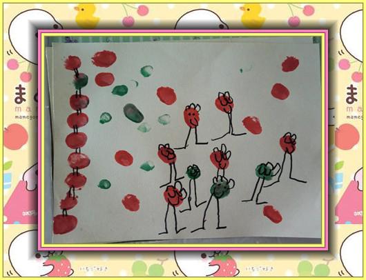 主题:本周我们画的是《小人国》,运用颜料,宝宝手指蘸上颜料在铅画纸