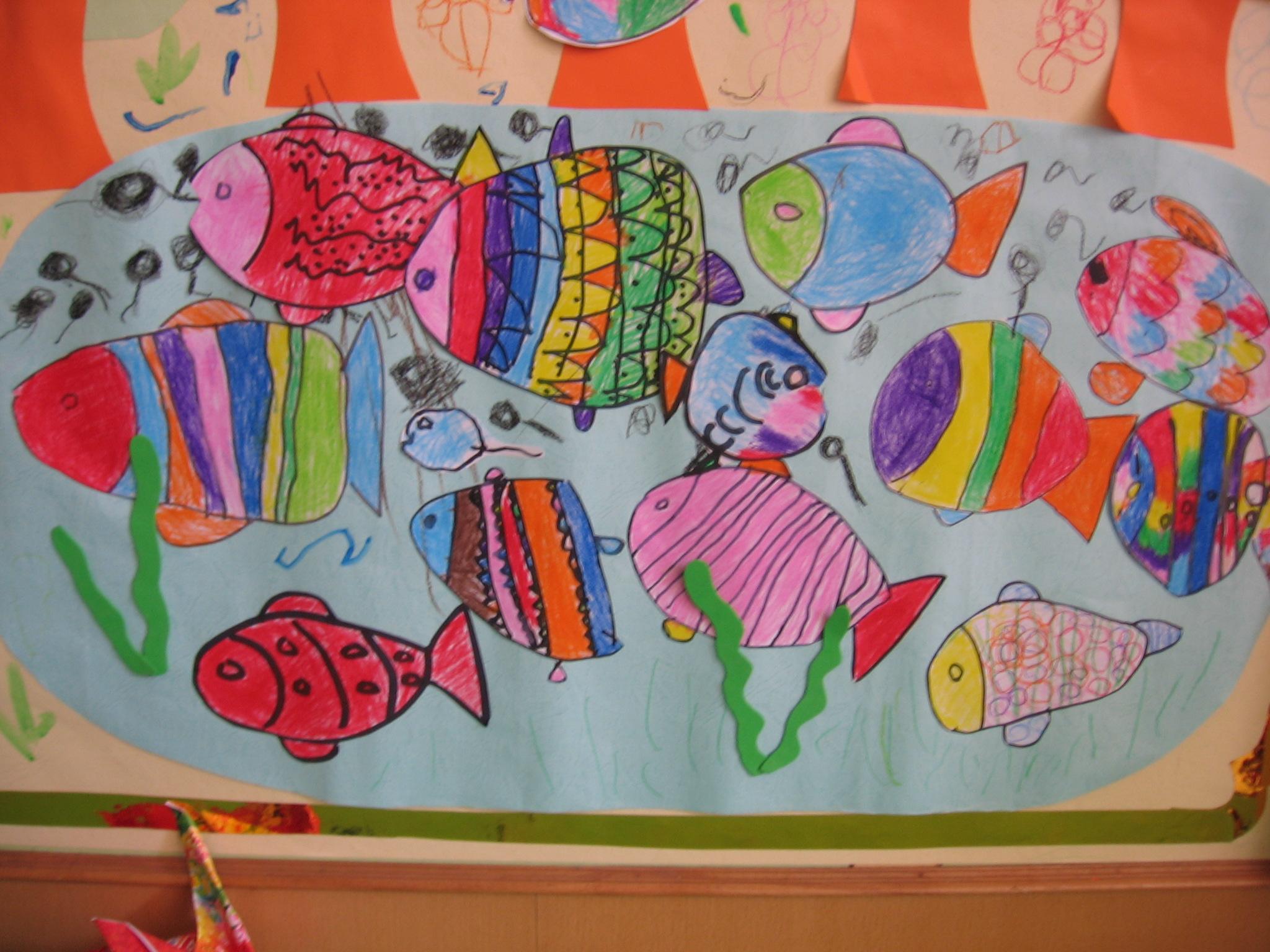 画难点: 小鱼的轮廓画起来相对比较简单,因此活动的难点就是引导幼儿图片