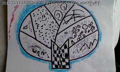 幼儿大树线描画