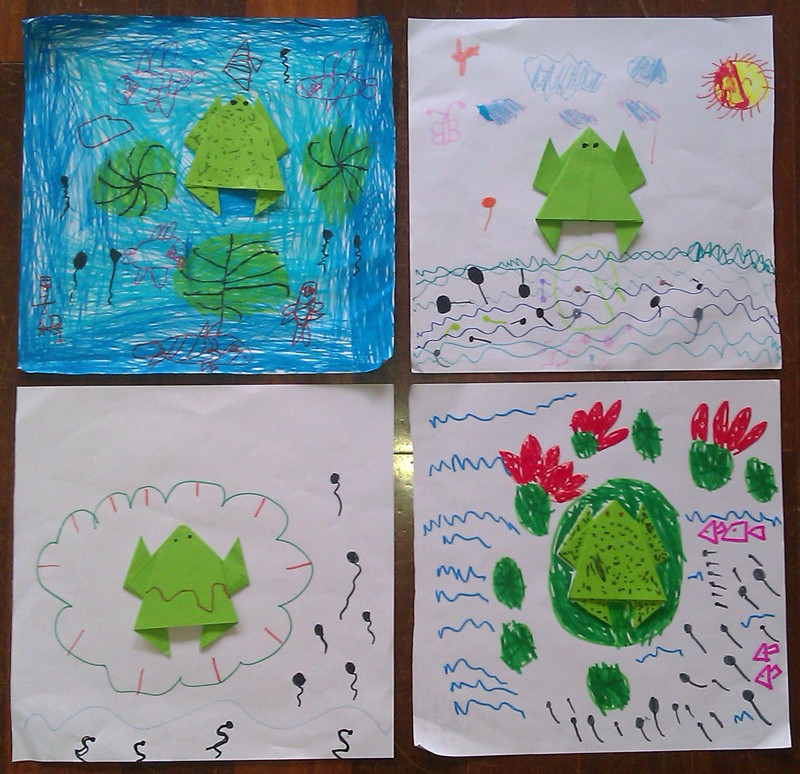 幼儿园中班折纸青蛙的步骤图解