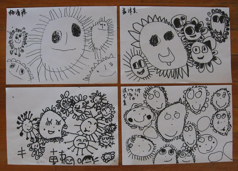 不同表情的太阳线条画分享展示图片