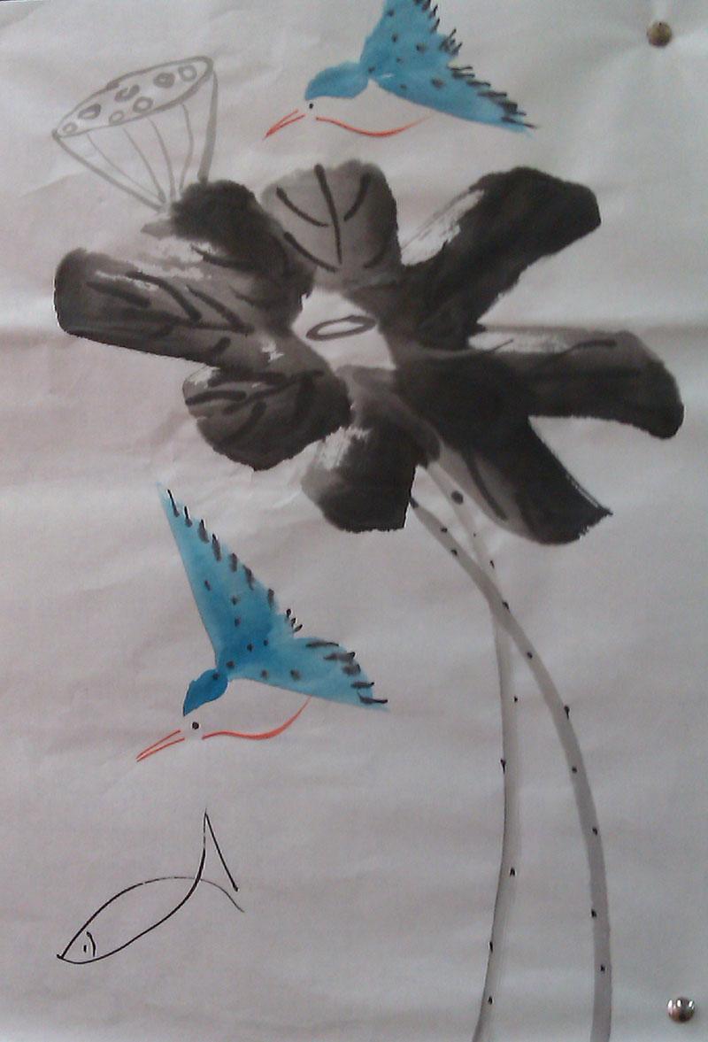 动物和植物一起的国画