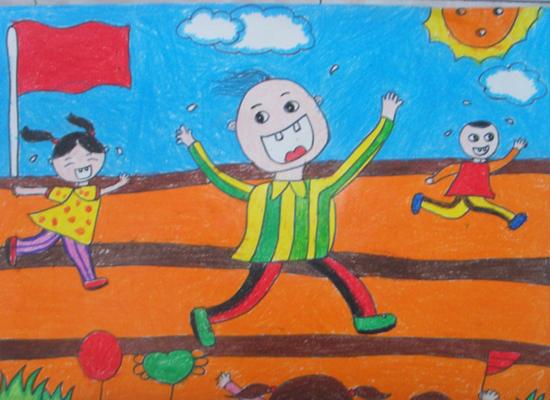 """标题: """"阳光下成长""""-迎接建党90周年幼儿主题绘画作品——阳光下"""