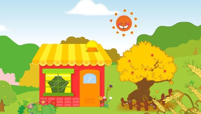 卡通金色的房子图片