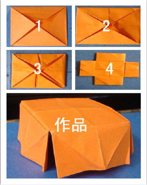 这是用手工纸折小桌子的步骤图,在活动中,我们让孩子的学习方法是