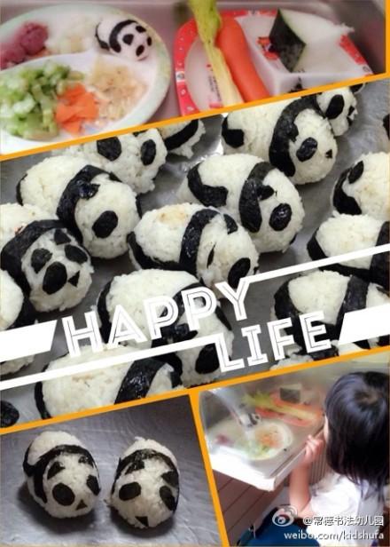 我们给小朋友们制作了可爱的熊猫墨墨饭团~ 熊猫饭团里包含着厨师