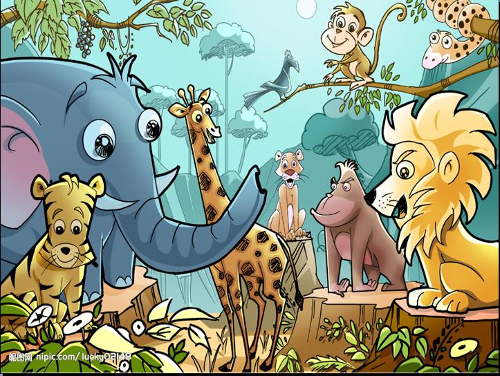 小动物们在森林里玩