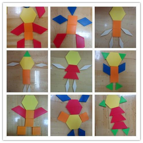 今天我们用七巧板中的各种图形,拼搭出了不同造型的机器人!