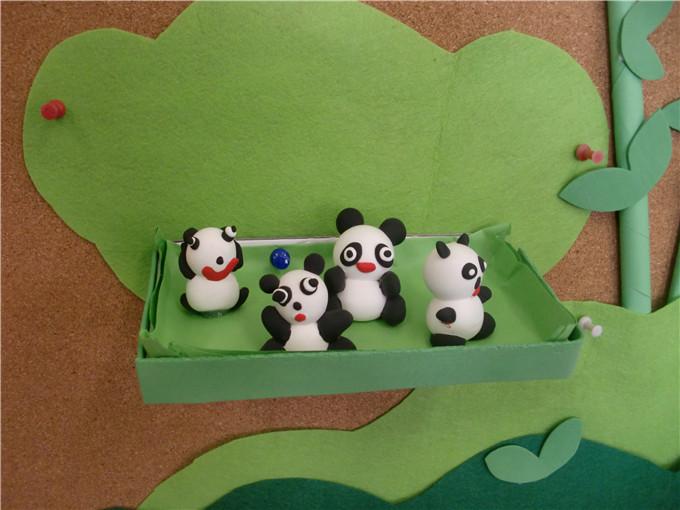 小熊猫真可爱,看我们用泥做的熊猫.