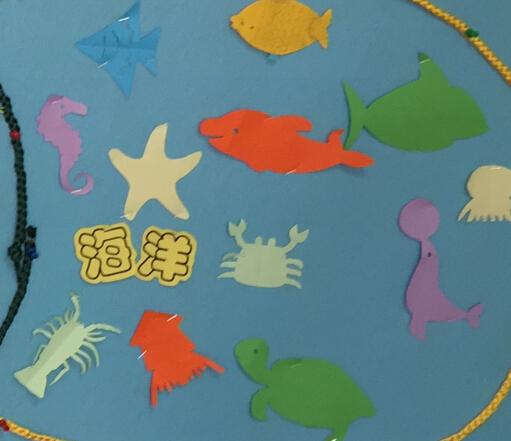 海底有好多不同的动物朋友呀,小朋友用自己的剪刀学着剪出了小动物们
