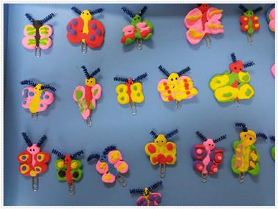 我们一起制作了各种各样的蝴蝶书签