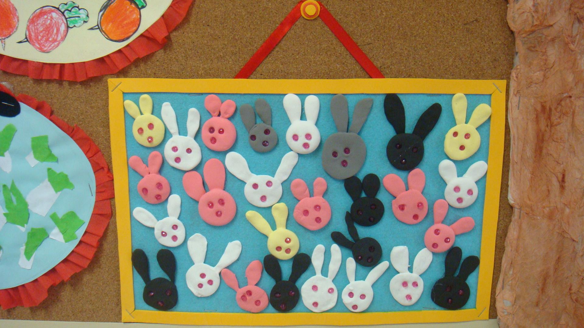 小班兔子泥工步骤图片
