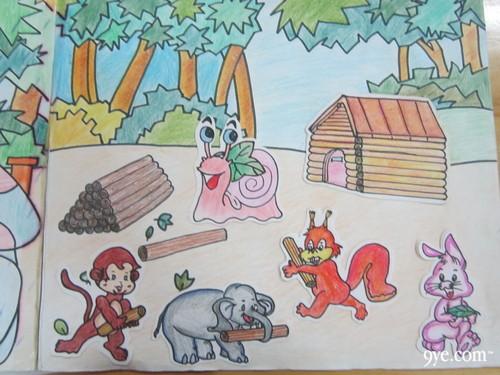 会盖房子的动物手绘图