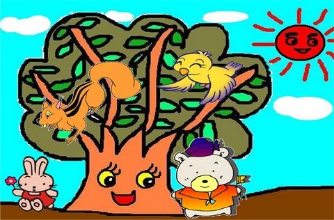 瞧,小鸟在树上筑窝,松鼠蹿上蹿下忙个不停.
