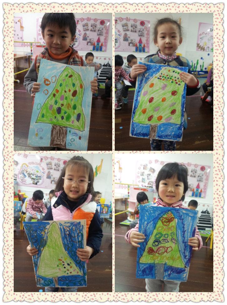 蜡笔画 圣诞树 -信息详细 - 建桥好好艺术幼儿园