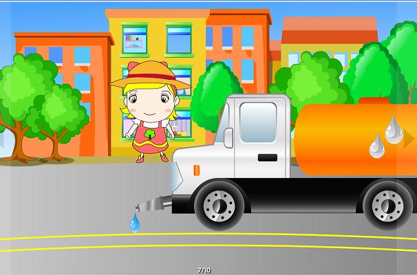 小孩子 划车 卡通