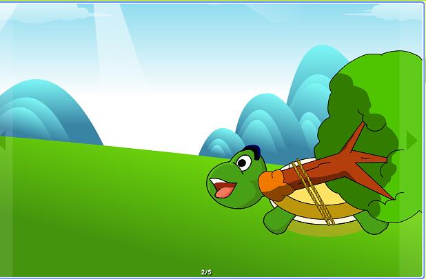 小乌龟把苹果树绑在背上出发了.