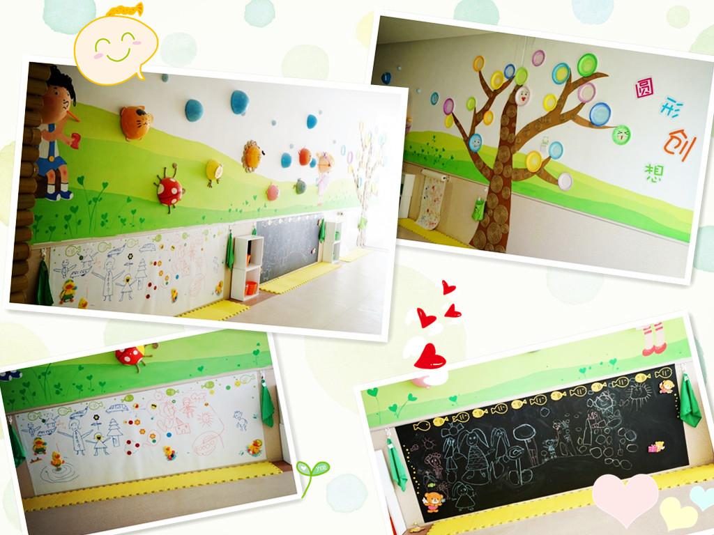 """幼儿园二楼走廊上的""""圆形创想""""正是"""