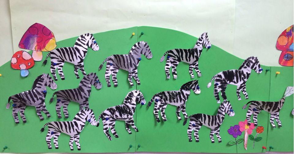 园所主页 班级相册  黑白皮毛的动物——斑马
