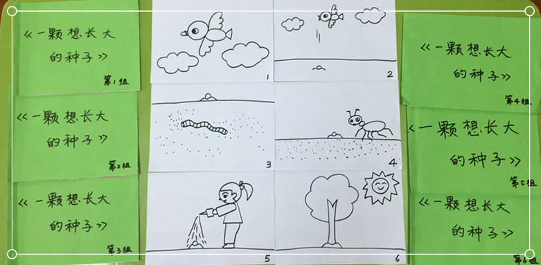 小组合作卡通囹�a_园所主页 班级相册  小组合作制作故事书《一颗想长大的种子》 小朋友