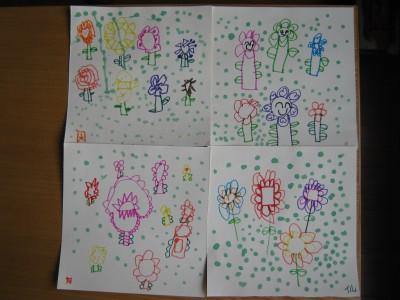 图形、线条与颜料点画的组合——春天的花园.-嘉中二班