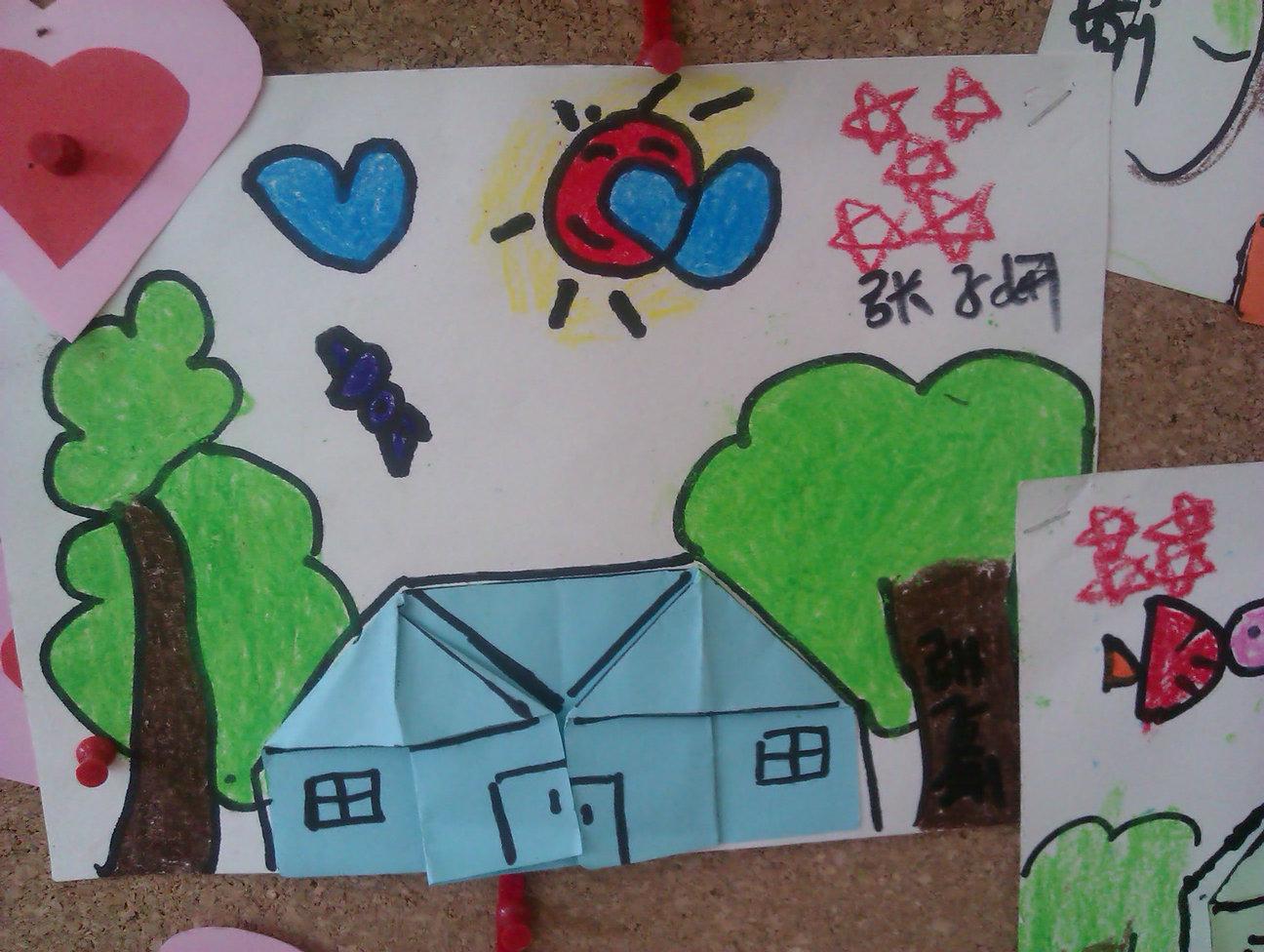 幼兒園中班圖畫作品小房子
