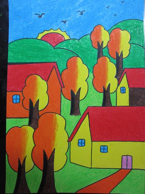 在许愿明信片上用蜡笔画了一座美丽的学校