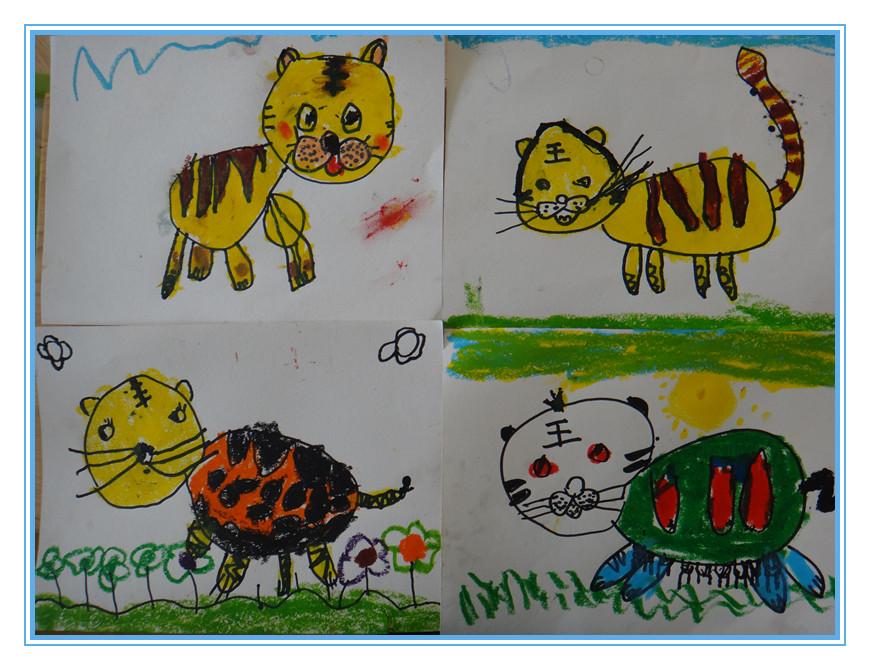 大班幼儿绘画可爱老虎