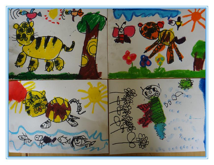 幼儿绘画作品——神气的大老虎