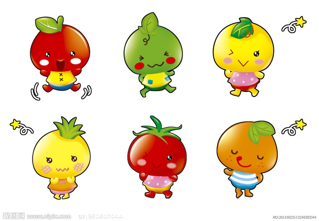 苹果和橘子卡通图片