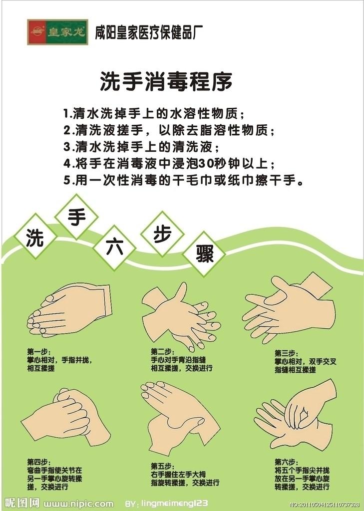 可爱的洗手步骤示意图