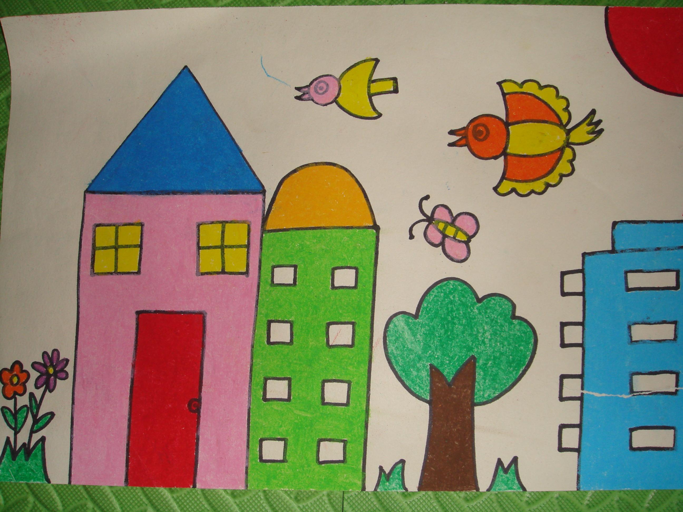 幼儿园 简易画  房屋_树上的房子绘画作品_房子绘画作品_树上的房子_鹊桥吧