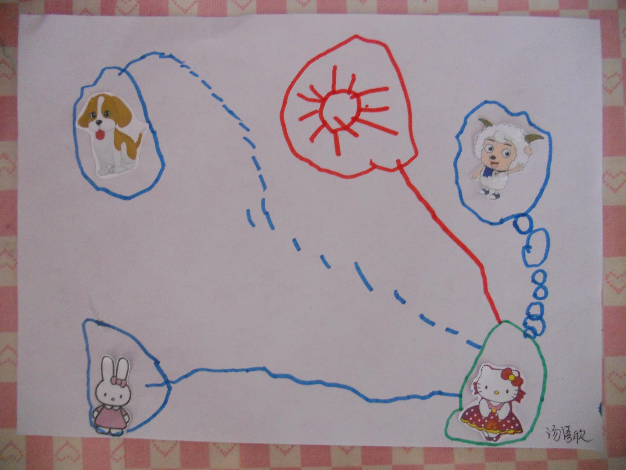 三,帮小动物家装电话,幼儿尝试用点,线,圆圈将两点连接.