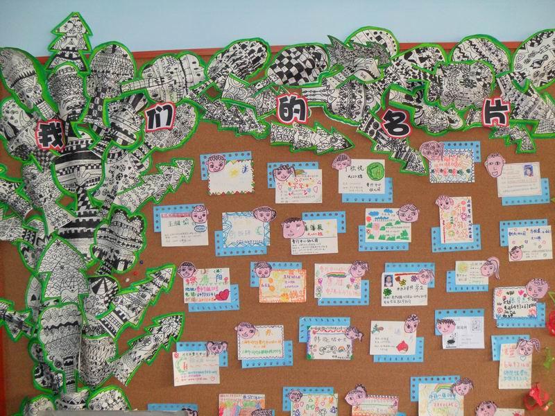 下面一张是孩子们给自己设计的名片.名片上方纸自己的头像简笔画.