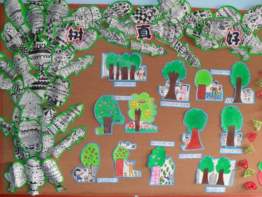 学习了语言活动《树真好》后,宝贝们在区域活动中绘画的线描画树,以及