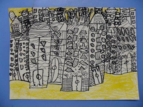 幼儿园画《我设计的高楼大厦》