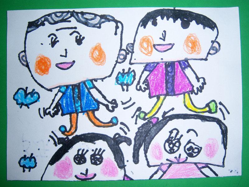 中班幼儿美术作品:大头娃娃来跳舞图片