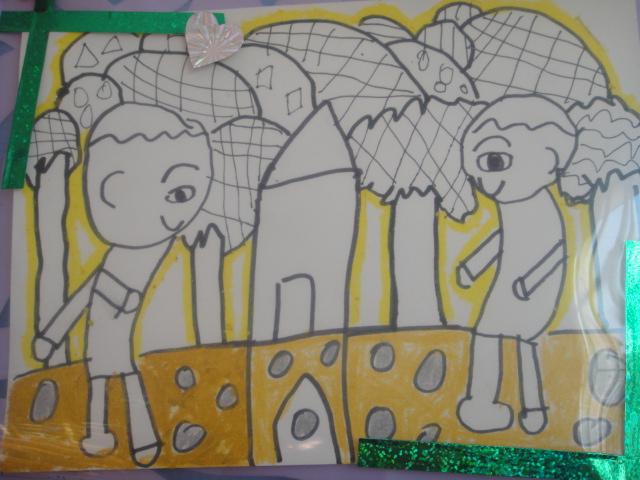 绘画作品 有礼貌的好孩子图片