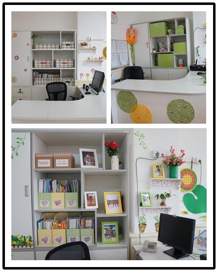 绿化,装饰物,体现了温馨雅致,书香气息;有的办公室利用废旧材料制作成