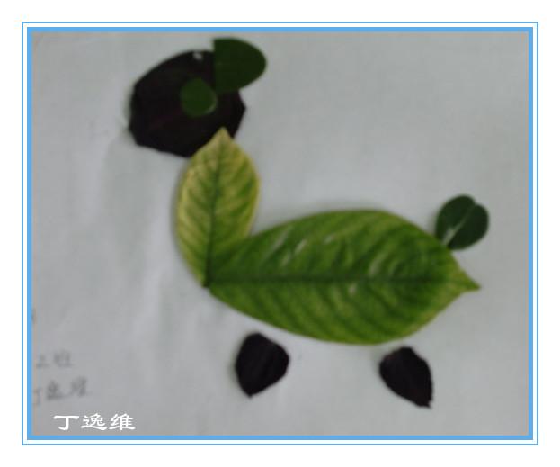 亲子制作:树叶图画