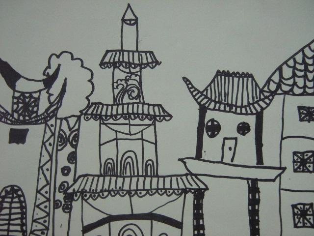 线描画房子风景