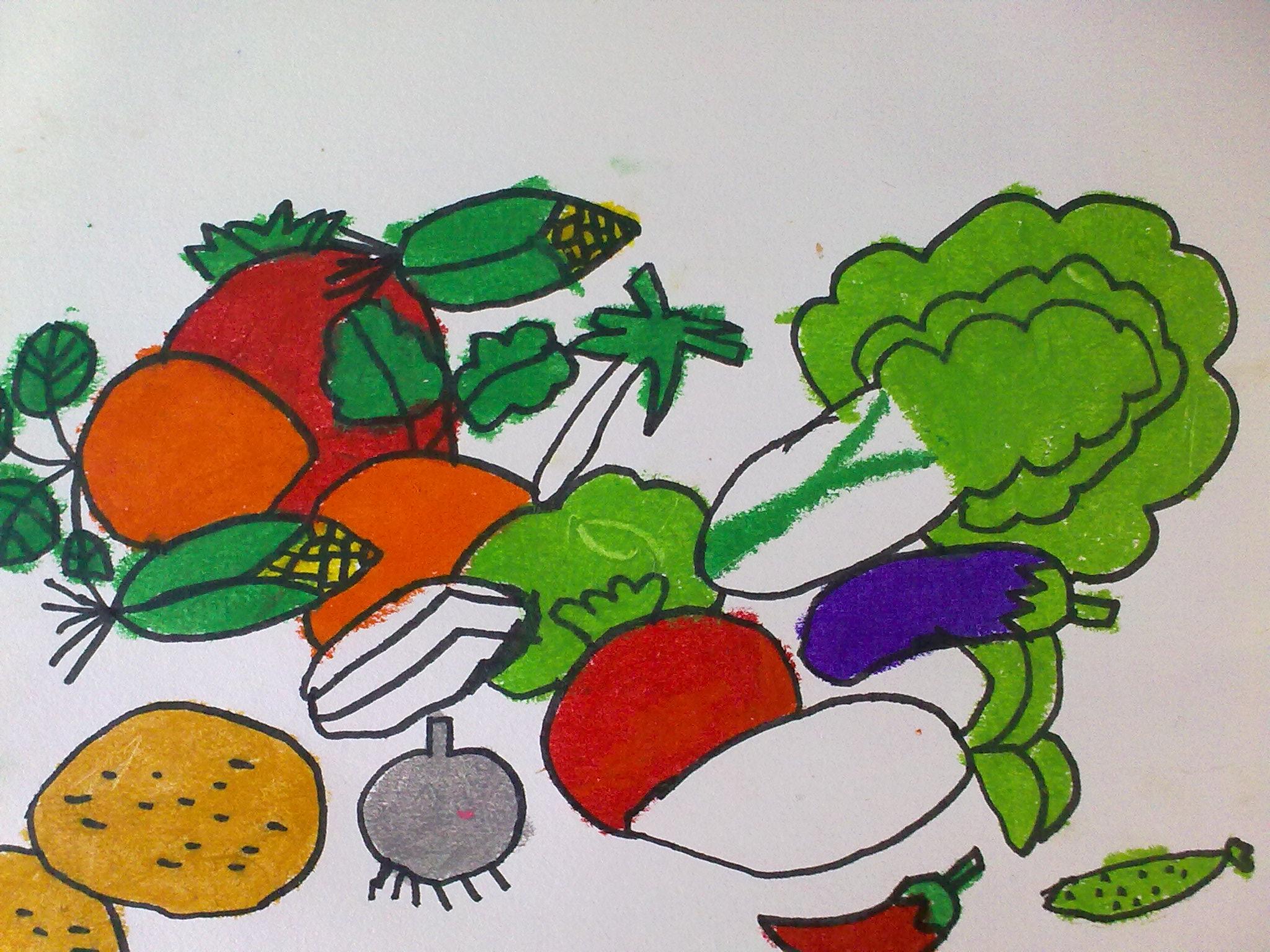 儿童手工制作蔬菜广告牌