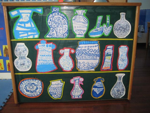 儿童青花瓷简笔画瓶子分享展示