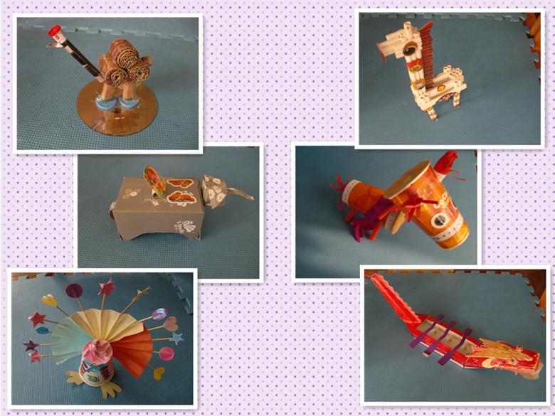 和孩子们一起利用各种废旧物品制作了可爱的小动物——