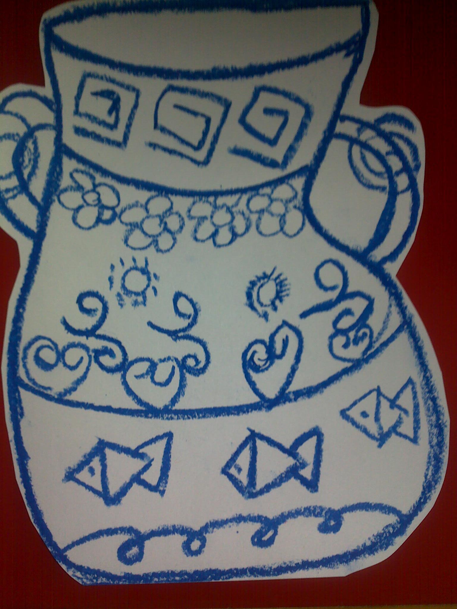 幼儿青花瓷花纹简笔画