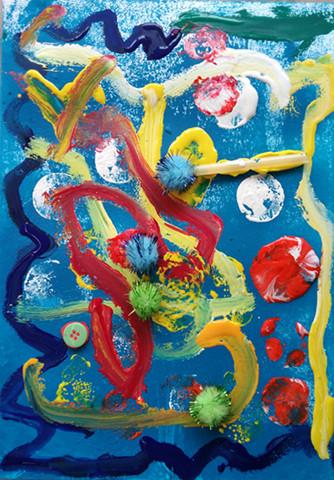 孩子们饶有兴趣得使用各种美术材料和非美术材料,包括:丙烯颜料,水粉图片