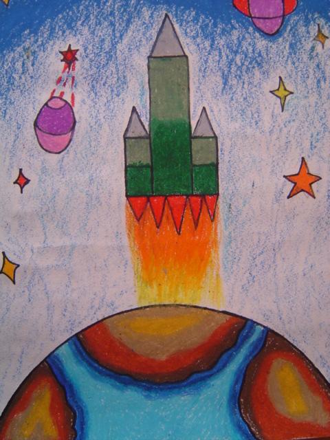 七宝中心幼儿园2010年幼儿航空科幻画作品