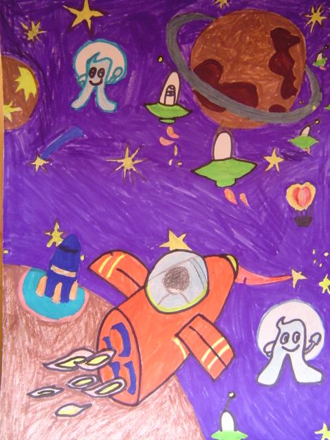 作品名称:太空旅行 幼儿姓名:唐嘉蔚(叠彩园图片